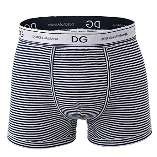 Dolce & Gabbana Herren Boxer Short, Regular, 100% Baumwolle, Rigato - Blau/Weiß: Größe: S (Gr. Small)
