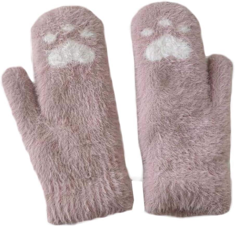 Panda Legends 1 Pair Womens Girls Cute Cat Paw Knit Gloves Winter Warm Cozy Mitten Gloves Christmas Birthday Gift, Pink