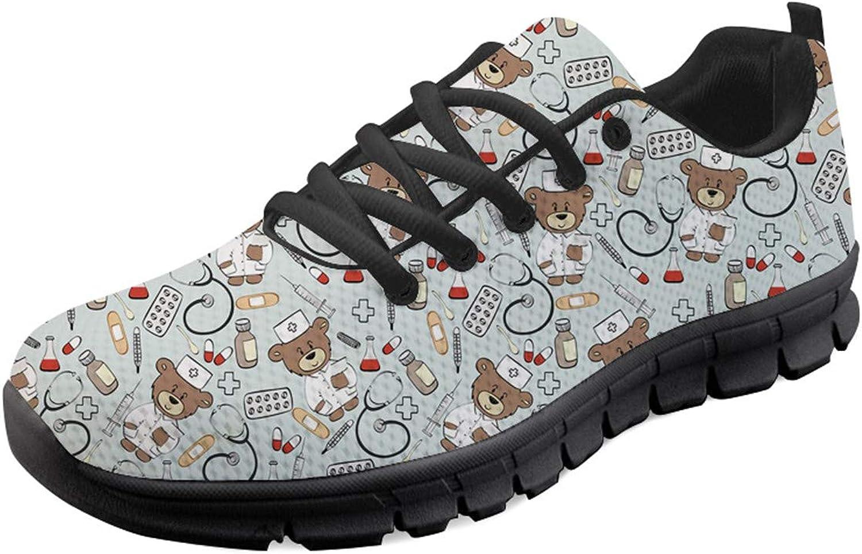 Showudesigns Womens Breathable Sport Sneaker Cartoon Bear Print Trainer Running Footwear