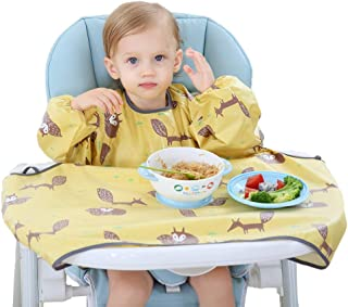 Willcome Baby Weaning Bib Apron Long Sleeved Waterproof Smock Dinning Chair Cover for Toddlers Feeding Supplies (Yellow)