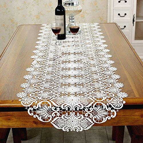 Tischdecken LXF Europäischen Stil Tischläufer Stickerei TV Schrank Tee Tisch Redwood Tischset Weiß (Size : 50 * 180cm)