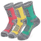 KOOOGEAR 3 Pairs Women Walking Hiking Socks,Anti Blister, Terry Cushion,Breathable,Warm,Moisture Wicking,Arch Support