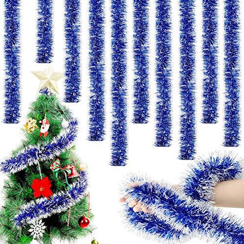 WILLBOND 6,6 Piedi Ghirlanda Tinsel di Natale Ghirlanda di Twist Ornamenti Lucidi Classici dell'Albero di Natale per Decorazioni da Soffitto Sospese per Feste (Blu, 10)