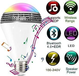 Wireless Bluetooth Speaker Bulb Light E27 7W LED RGB Smart Music Play Lamp Remote