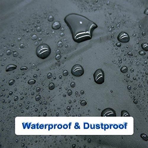 Fahrradabdeckung Wasserdicht. EMIUP Fahrradschutzhülle Fahrradträger für 2 Fahrräder Wasserfest Atmungsaktiv Regenschutz Schutzbezug 200x70x110CM – Schwarz - 3