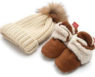 Newborn Baby Boys Girls Cozy Booties Fleece Lined Non-Slip Sole Infant Winter Warm Toddler Slippers Socks Shoes + Knit Pom Pom Hat