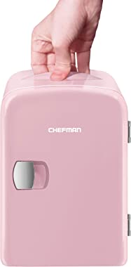 Chefman Mini Portable Compact Personal Fridge Cools & Heats, 4 Liter Capacity, Chills 6 12oz cans, 100% Freon-Free & Eco Frie