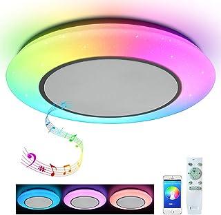 Lámpara de techo con mando a distancia, control por aplicación y altavoz Bluetooth doble, estéreo, 24 W, resistente al agua
