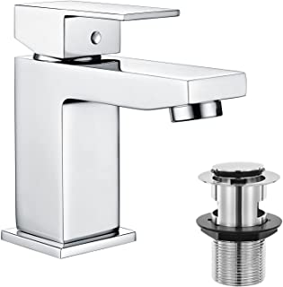 Hapilife Basin Taps Square with Pop up Waste Bathroom Sink Mixer Taps with UK Standard Hoses