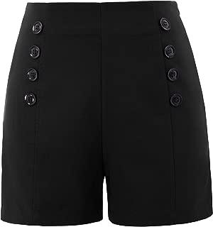Women High Waist Stretch Shorts Vintage Button Sailor Shorts BP849