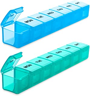 BUG HULL Extra Large Pill Organizer for Travel 2 Pack, Weekly XL Pill Box, 7 Day Jumbo Pill Case, Oversize Daily Medicine ...