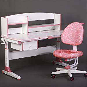 EXCLVEA-TCS Baby Activity Table- Desk Chair Set Multi-functional Desk And Chair Set Children Kids Study Table School Student Desk Book Stand Height Adjustable Baby Play Table  Color Pink