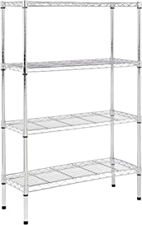 AmazonBasics 4-Shelf Adjustable, Storage Shelving Unit, Steel Organizer Wire Rack, Chrome
