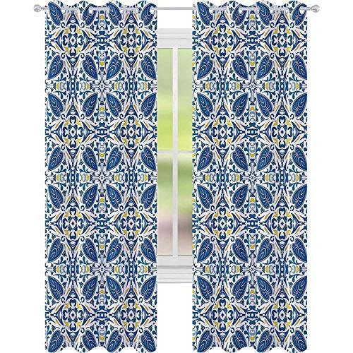 Cortinas de ventana para oscurecer la habitación, azulejos tradicionales portugueses, motivos florales abstractos, 52 x 95, cortinas opacas para dormitorio de niños, azul, naranja, amarillo