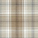 McAlister Textiles Angus Tartan Tessuto al Metro, Cucito | Scozzese Tweed Harris Decorazioni per la Casa in Tessuto - Beige Chiaro e Grigio | Design - al Metro 100x140cm