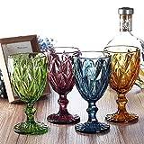 Vintage 6 Teile Set Rombus König Weinglas Glas Gläser Weingläser Wasserglas Longdrinkglas (blau) - 4