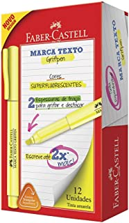Caneta Marca Texto, Faber-Castell, Grifpen, MT/AMZF, 12 Unidades, Amarelo