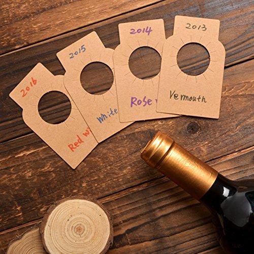 NOVSIX Etiquetas de botellas de vino de papel Kraft - Etiquetas de bodega de papel de 200 cuentas de papel