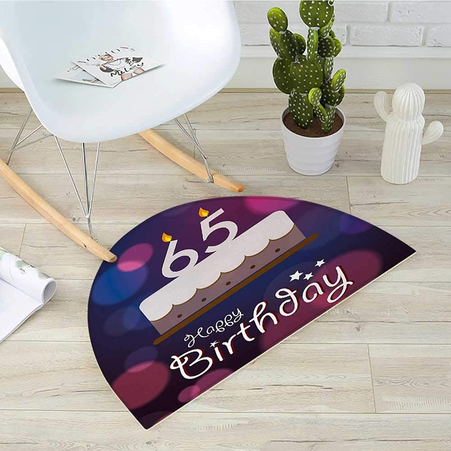 65th Birthday Semicircular CushionBirthday Ceremony Artwork with Cake Hand Writing Calligraphy Best Wishes Entry Door Mat H 35.4  xD 53.1  bluee Pink White