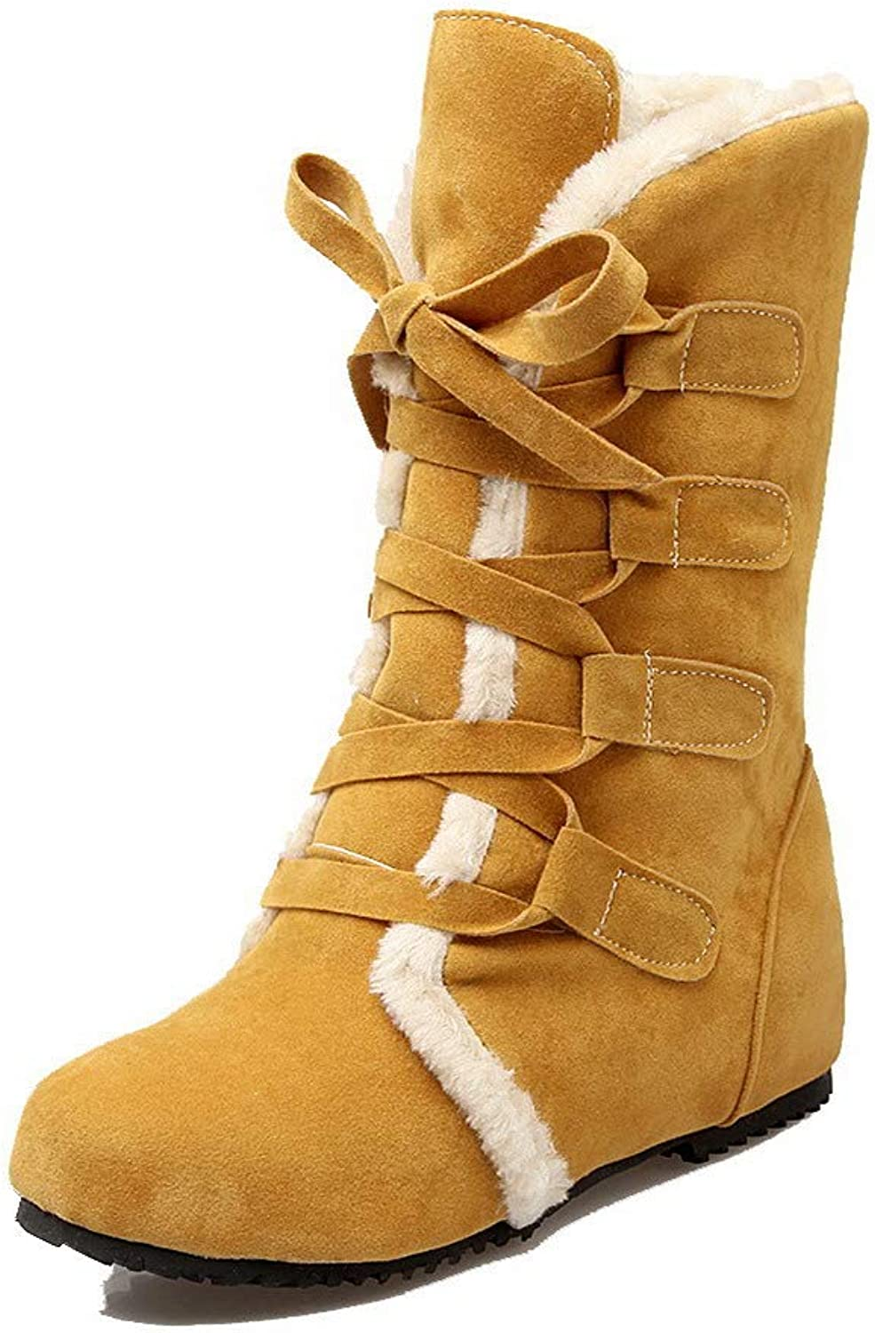 WeenFashion Women's Low-Top Solid Lace-Up Round-Toe Low-Heels Boots, AMGXX119774