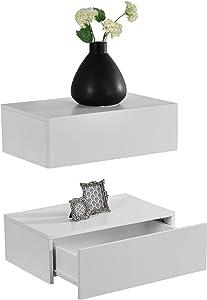 [en.casa]®] Set de 2 Mesitas de Noche de Pared con cajón - Blanco Mate - 46x30x15cm