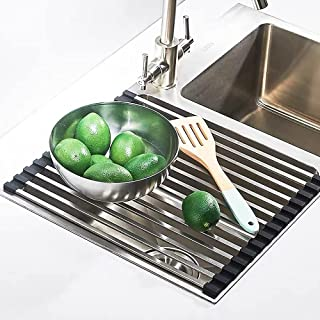 "H HOME-MART Over The Sink Dish Drying Rack 18.5"" x 10.24"", Roll Up Large Dish Drainers Rack, Multipurpose Foldable Kitchen..."