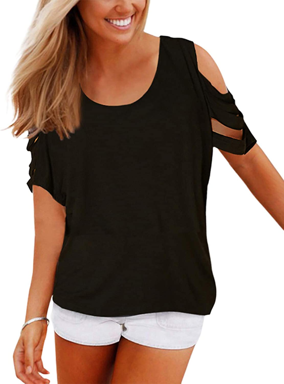 YOINS Camiseta de manga corta para mujer, elegante, sexy, sin hombros, monocolor