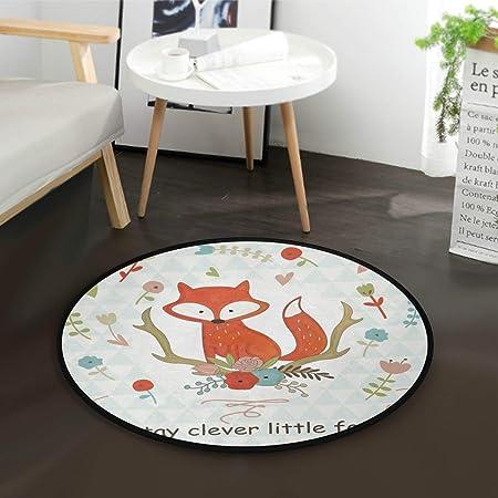 Mnsruu Tapis rond pour salon, chambre à coucher, motif renard mignon, 92 cm de diamètre