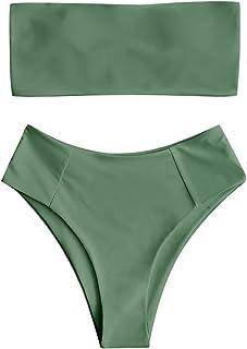 b0a76d31008b8 ZAFUL Women s Strapless High Cut Bandeau Bikini Set 2 Piece Swimsuit