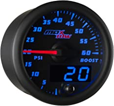 MaxTow Double Vision 60 PSI Turbo Boost Gauge Kit - Includes Electronic Pressure Sensor - Black Gauge Face - Blue LED Illuminated Dial - Analog & Digital Readouts - for Diesel Trucks - 2-1/16