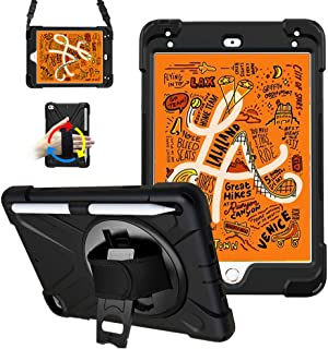 iPad Mini 5 Case, iPad Mini 4 Case,360 Rotation Degree [Built-in Kickstand] Heavy Duty Protective Shockproof Case with Pencil Holder & Hand Shoulder Strap for Apple iPad Mini 2019 2017 4th 5th Gen