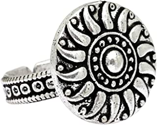 Preyans from Jaipur Mart antique Silver plated oxidised metal Flower Shaped adjustable stylish Rings for women's/girl's