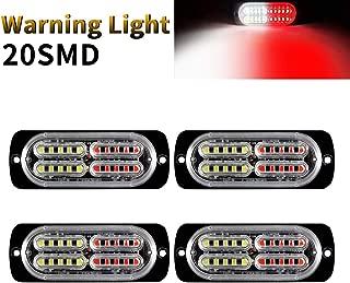 12-24V 20-LED Super Bright Strobe Lights for Trucks-Emergency Warning Caution Flashing Waterproof Strobe Light Bar Surface Mount for Construction Vehicle, Tow Truck Van, etc. - 4PCS(Red&White)