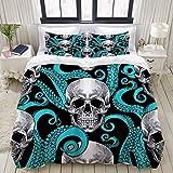 1203 Funda nórdica Blue Octopus y Sugar Skull diseño único divertido Halloween, juego de ropa de cama ultraligero de microfibra