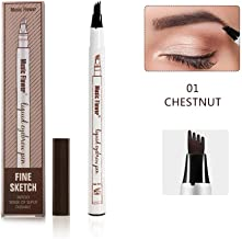 Music Flower Liquid Tattoo Eyebrow Pen With Four Tips Brow Pen, Long-lasting Waterproof Brow Gel for Eyes Makeup-Chestnut