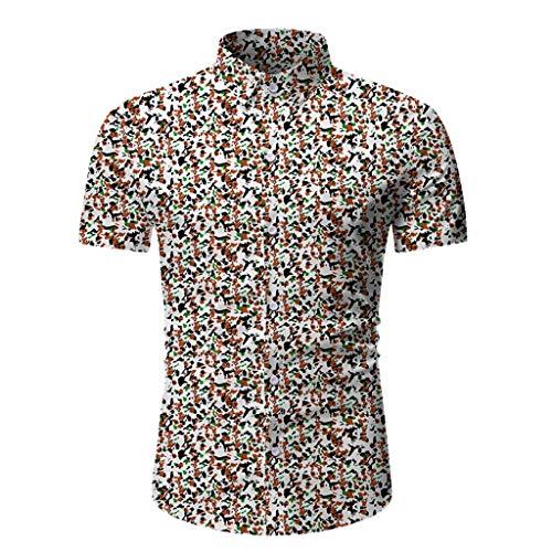 FONMA Men Casual Summer Printed Button Short Sleeve Hawaiian T-Shirt Top Blouse Coffee