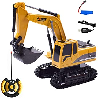 FOONEE Remote Control Excavator, 1:24 Alloy RC Excavator Tractor Toy Construction Vehicles, Full Functional Digger Electronics Hobby Truck Toy With Rechargeable Battery For Kids Child(23 * 18 * 10cm)