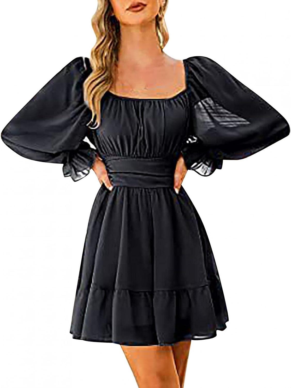 Women's Long Sleeve Dresses Lace Square Neck Frilled Dresses Slim Backless Mid Chiffon Dress Lantern Sleeve Mini Dress