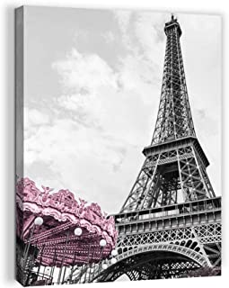 Paris Eiffel Tower Wall Decor for Girls Bedroom Black and White Bathroom Pictures Wall Decor Pink Paris Themed Room Decor Canvas Framed Art Kid Artwork for Walls Modern Home Wall Decoration Size 12x16