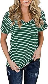 Fitfulvan Women's Casual V-Neck Short-Sleeved Pocket Striped Top Classic Wild T-Shirt