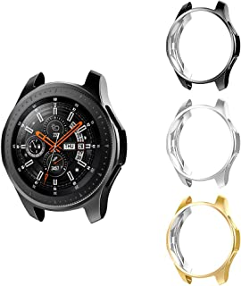 MoKo 3-Pack Case Compatible with Samsung Galaxy Watch 46mm, Soft TPU Protector Case Bumper Shell Sleeve Electroplate Protective Cover - Black & Silver & Gold