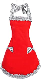 Hyzrz Cute Red Cotton Ruffle Youth Girls Apron Kitchen Cooking Aprons for Women with Pockets