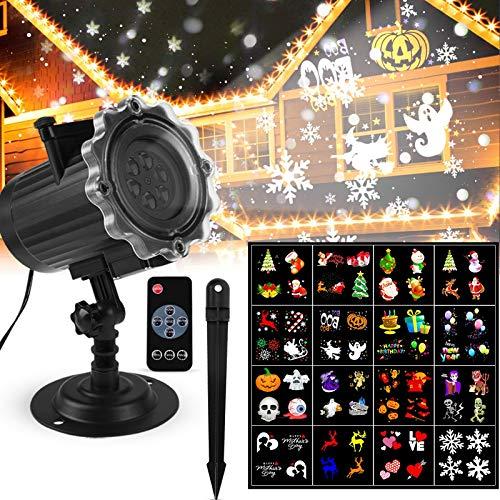 ROVLAK Proiettore Luci Natale Esterno Interno Lampada Proiettore Colorata Led 16 Diapositive HD Pattern con Telecomando Luci Proiettori per Halloween Natale Celebrazione Compleanno Feste