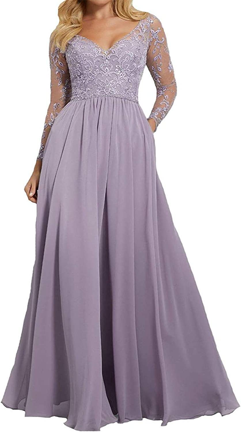 Sophie Women's Long Sleeves Prom Dresses Lace V Neck Evening Formal Bridesmaid Dress 2019 Q033