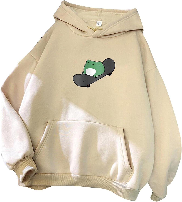 Hoodies for Women,Women Frog Print Jumper Hoodie Long Sleeve Cute Kawaii Oversized Sweatshirt Hoodies Pullover