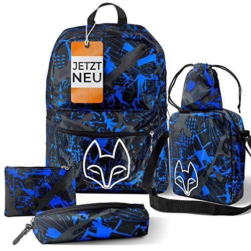 Zafox Limited Edition Jungen Schulrucksack 5er-Set [mit Umhängetasche und Mäppchen] Kinder und Teenager Schulranzen Set für Schule und Freizeit