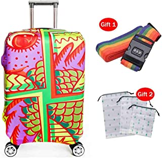 Suitcase Cover 18-32 Inch Waterproof Suitcase Protective Cover Thermal Transfer Flower Pattern High Elastic Wear-Resistant...