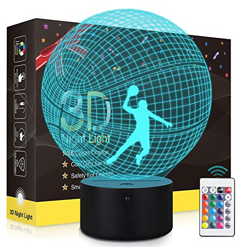 3D Basketball Night Light with Timing, Touch & Remote Control 3D Illusion Lamp for Kids Bedroom, 16 Colors Changing Basketball Bedside Lamp for Boys Christmas Birthday Gift