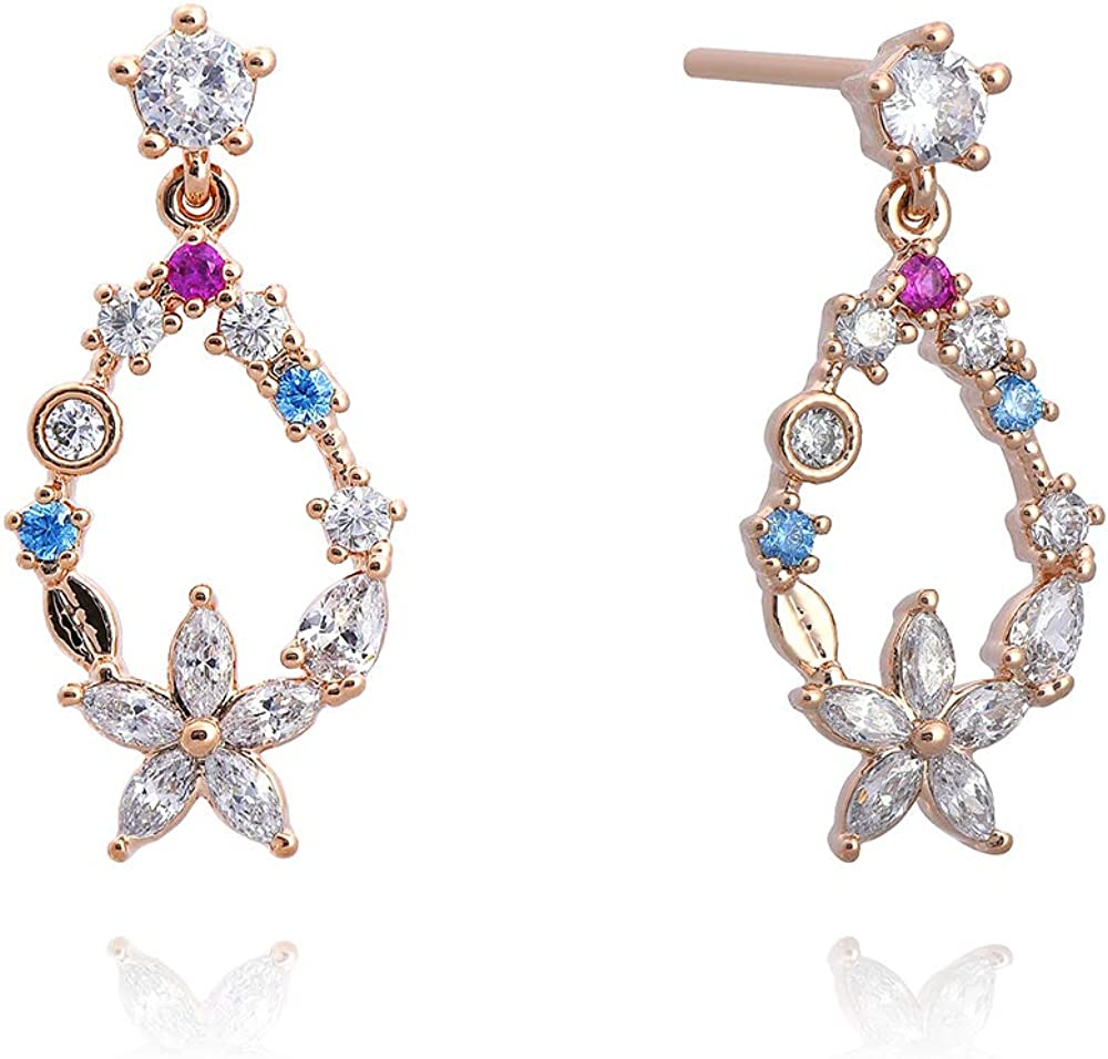 Nature Stone   Gold Plated   Cubic Zirconia   Flower and Water Drop with Various colored Cubics   Drop & Dangle Earrings   Earrings for Women Girls