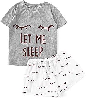 TIANMI Women's Casual Shorts Short Sleeve Ruffled T-Shirt Sleepwear Nightwear Set